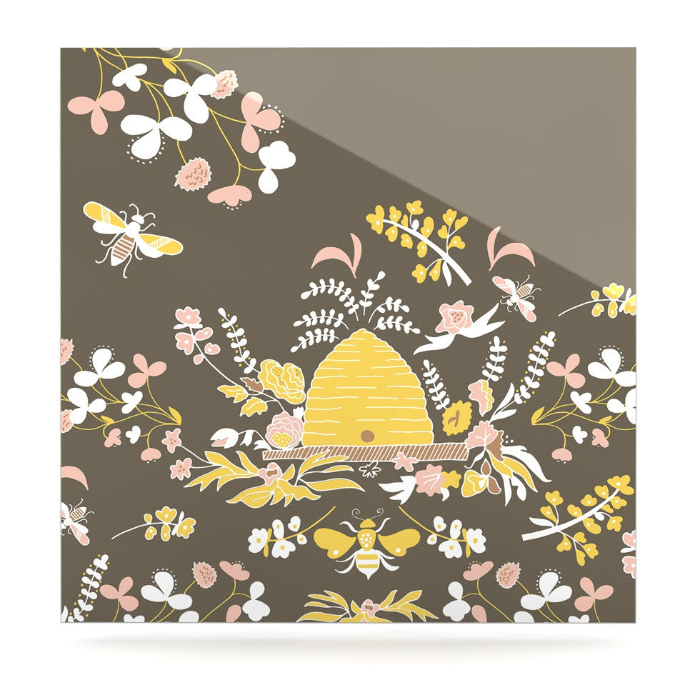 "Very Sarie ""Hope for the Flowers II"" Yellow Brown Luxe Square Panel - KESS InHouse  - 1"