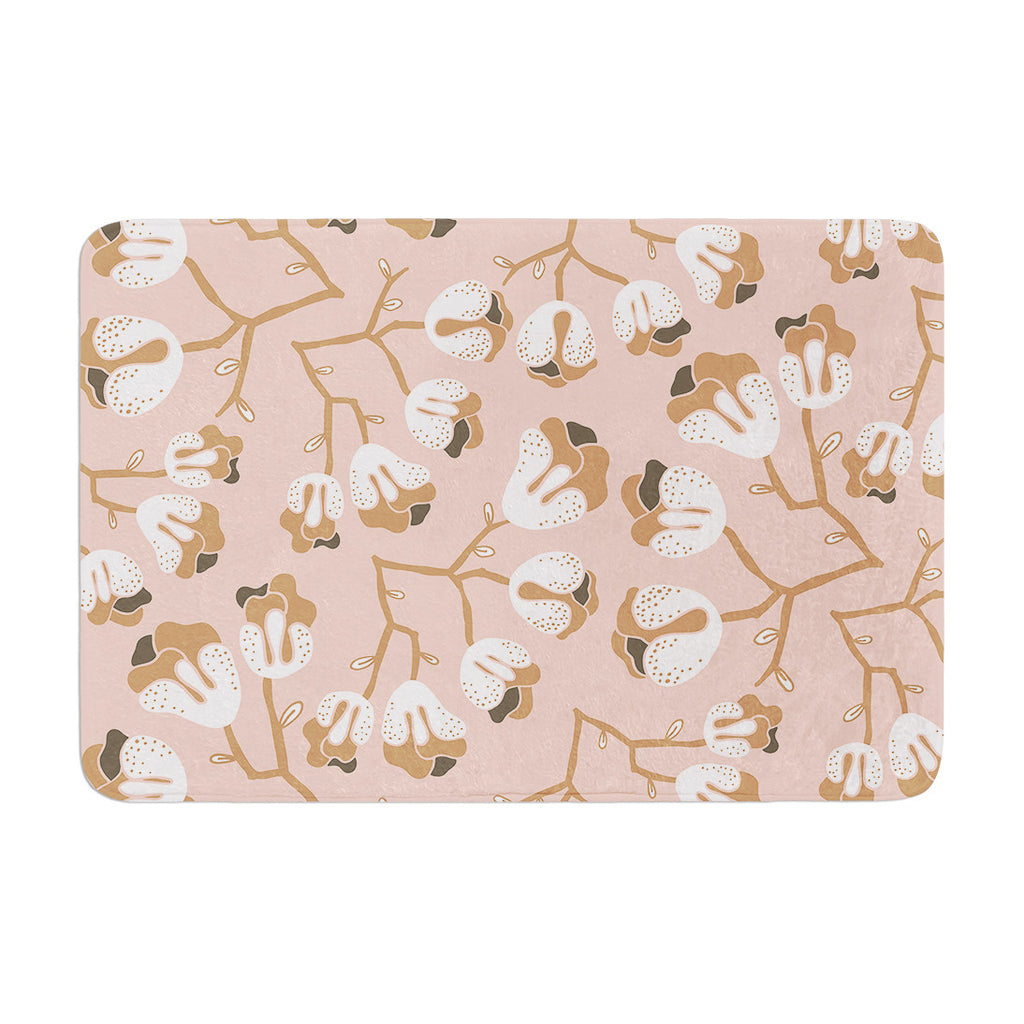 "Very Sarie ""Hope for the Flowers III"" Pink White Memory Foam Bath Mat - KESS InHouse"