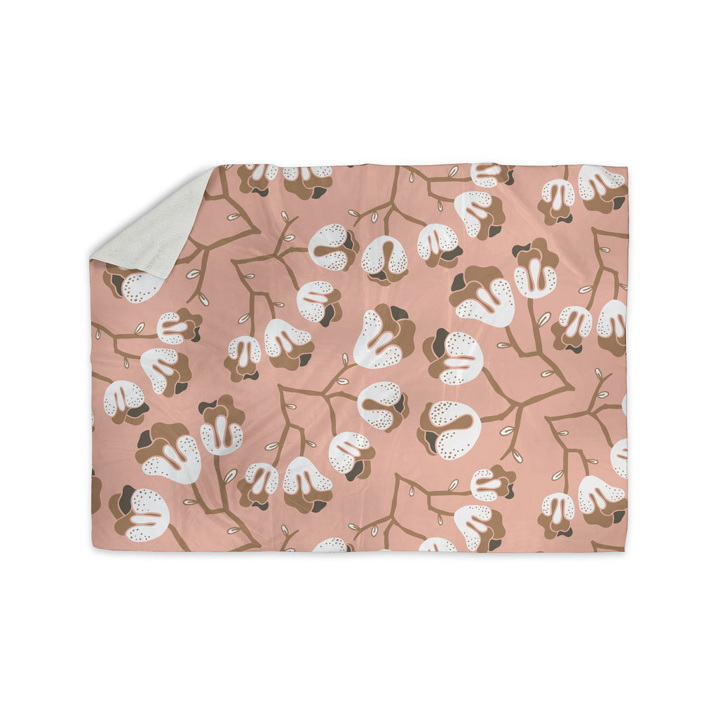 "Very Sarie ""Hope for the Flowers III"" Pink White Sherpa Blanket - KESS InHouse  - 1"
