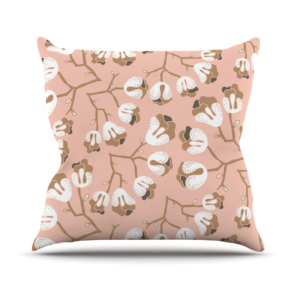 "Very Sarie ""Hope for the Flowers III"" Pink White Outdoor Throw Pillow - KESS InHouse  - 1"