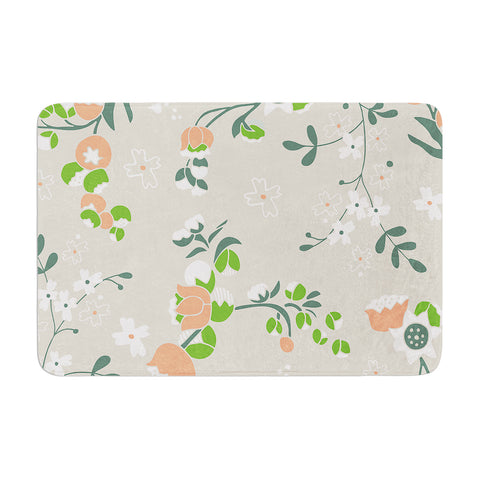 "Very Sarie ""Early Waking"" Green Floral Memory Foam Bath Mat - Outlet Item"