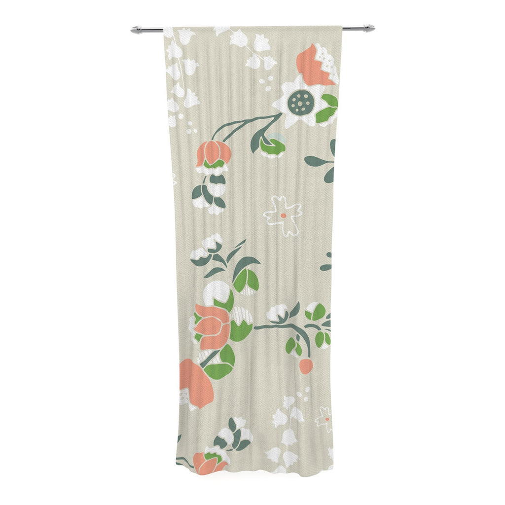 "Very Sarie ""Early Waking"" Green Floral Decorative Sheer Curtain - KESS InHouse  - 1"