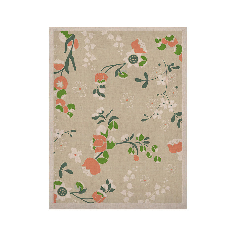 "Very Sarie ""Early Waking"" Green Floral KESS Naturals Canvas (Frame not Included) - KESS InHouse  - 1"
