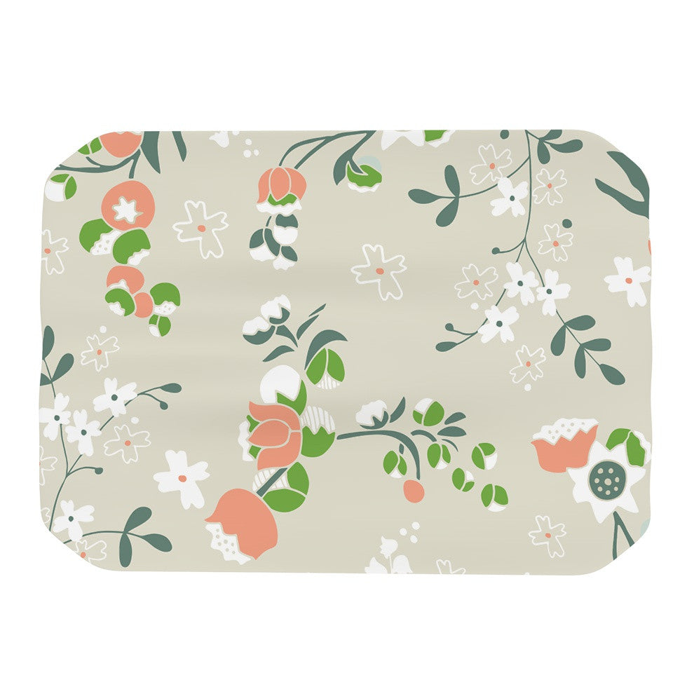 "Very Sarie ""Early Waking"" Green Floral Place Mat - KESS InHouse"
