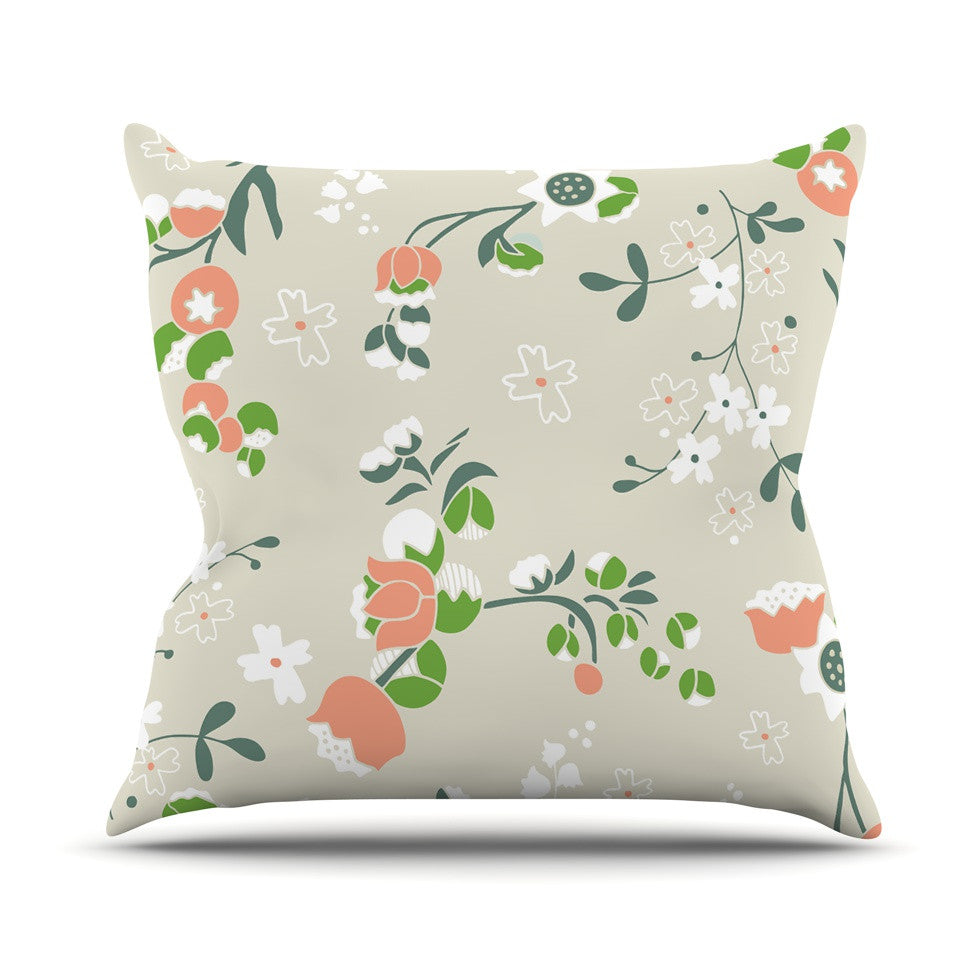 "Very Sarie ""Early Waking"" Green Floral Outdoor Throw Pillow - KESS InHouse  - 1"