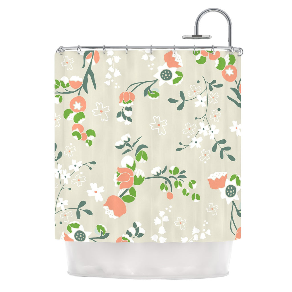 "Very Sarie ""Early Waking"" Green Floral Shower Curtain - KESS InHouse"