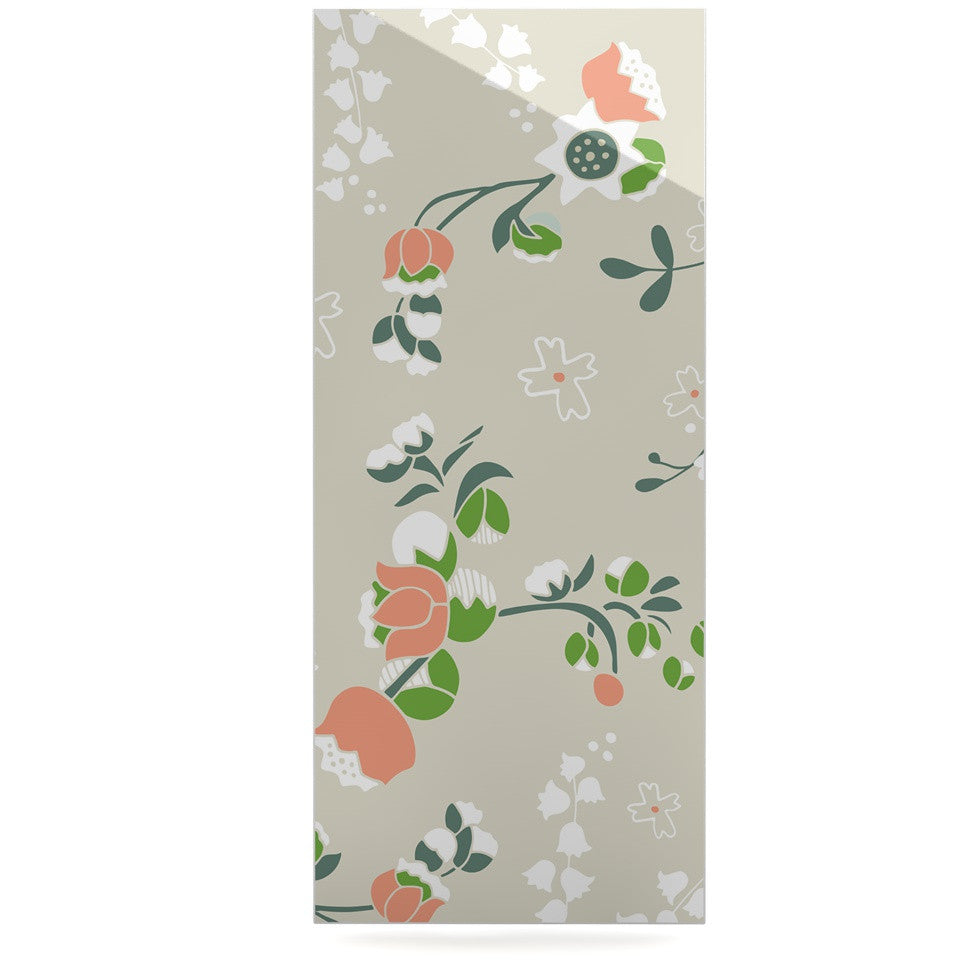 "Very Sarie ""Early Waking"" Green Floral Luxe Rectangle Panel - KESS InHouse  - 1"