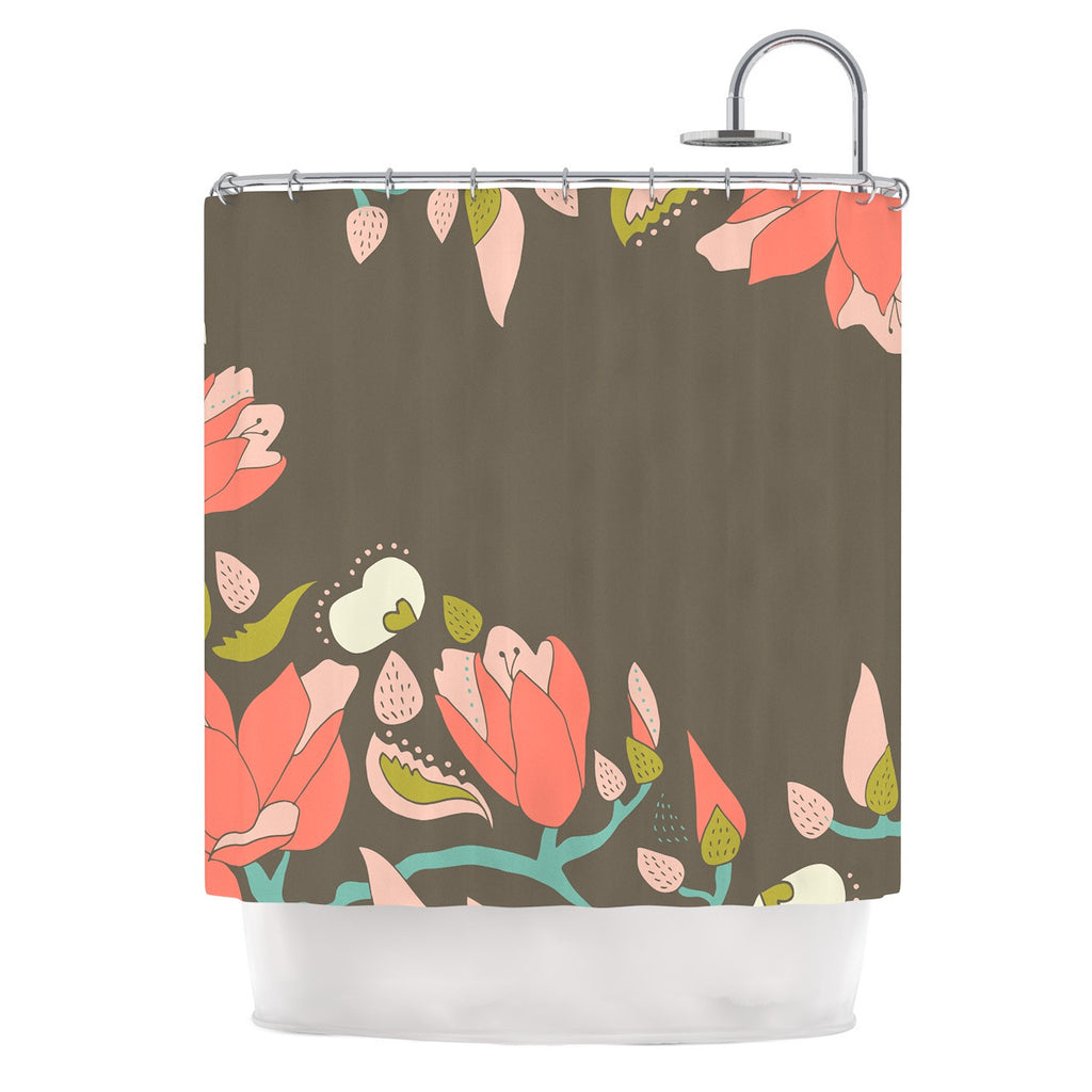 "Very Sarie ""Penelope I"" Brown Coral Shower Curtain - KESS InHouse"