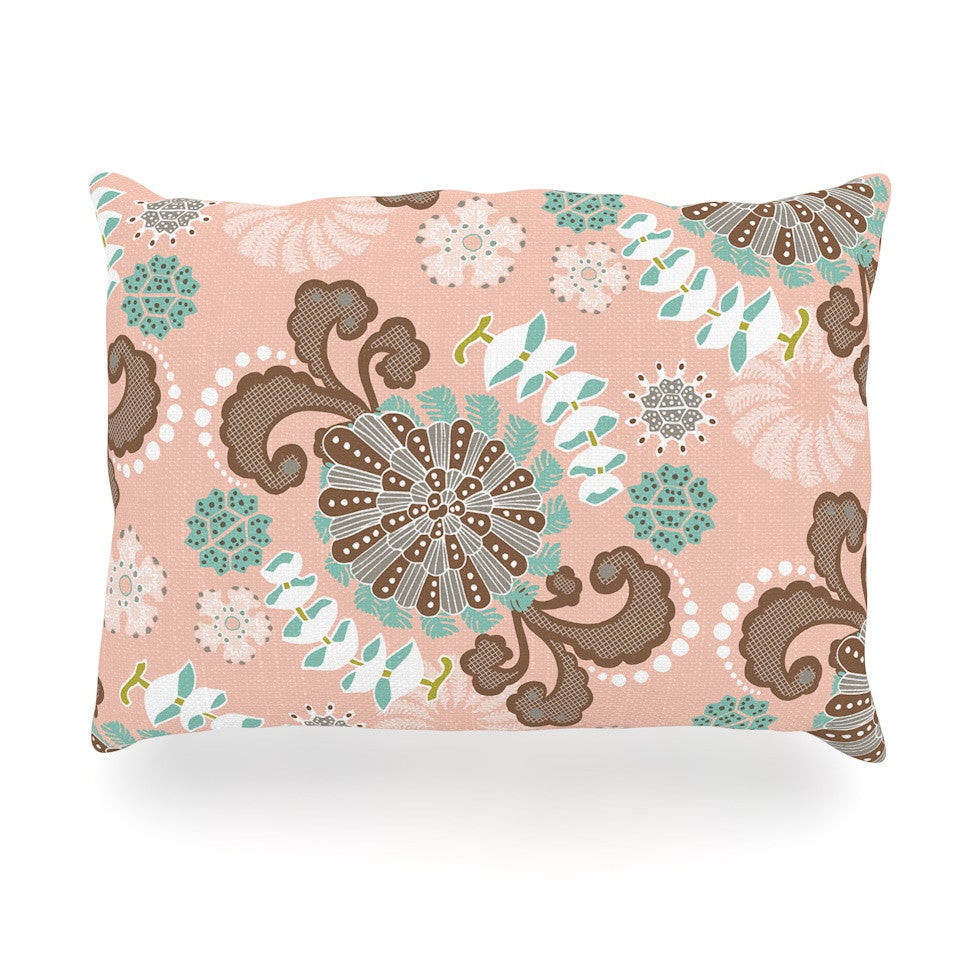 "Very Sarie ""Sea Carnival"" Pink Teal Oblong Pillow - KESS InHouse"