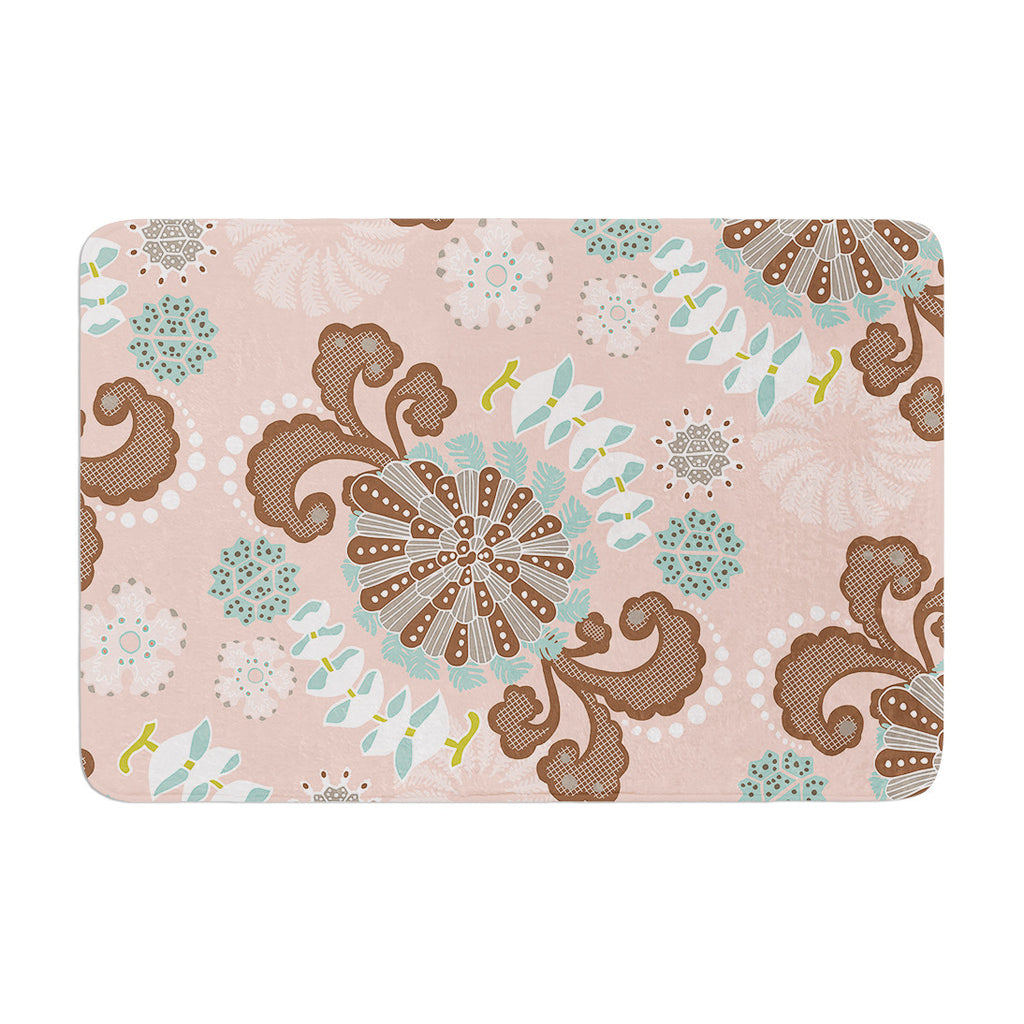 "Very Sarie ""Sea Carnival"" Pink Teal Memory Foam Bath Mat - KESS InHouse"