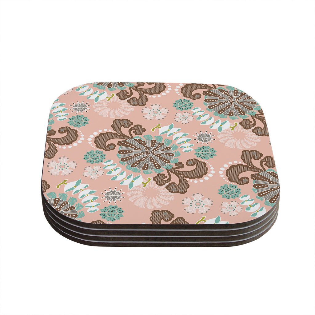 "Very Sarie ""Sea Carnival"" Pink Teal Coasters (Set of 4)"