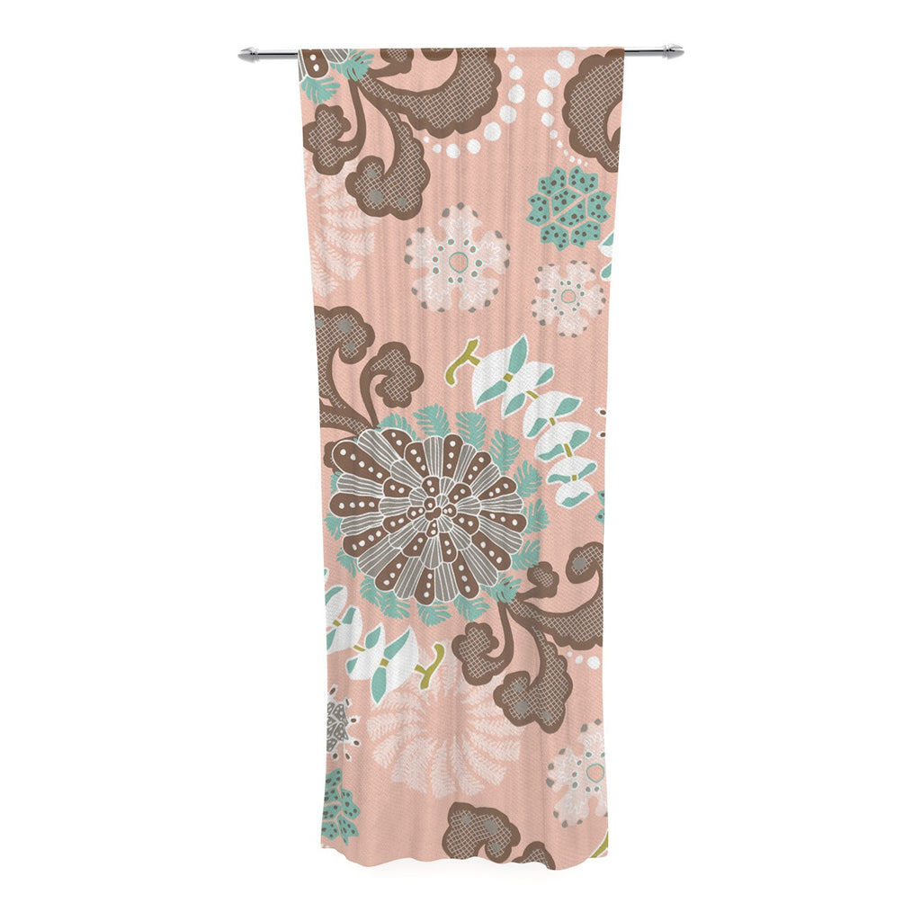 "Very Sarie ""Sea Carnival"" Pink Teal Decorative Sheer Curtain - KESS InHouse  - 1"