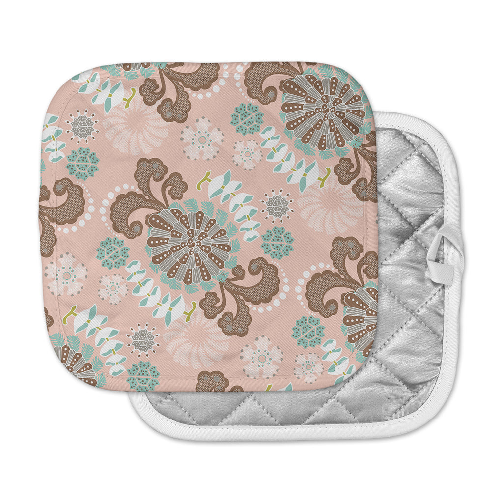 "Very Sarie ""Sea Carnival"" Pink Teal Pot Holder"
