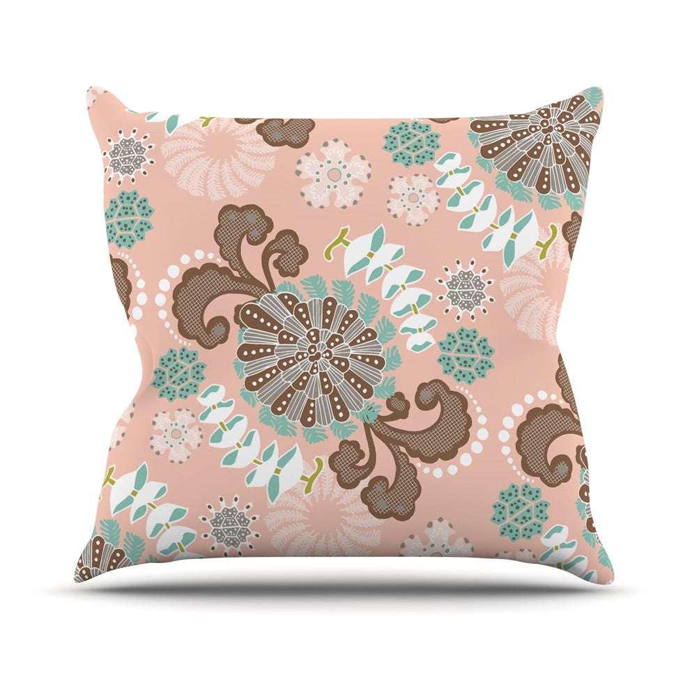 "Very Sarie ""Sea Carnival"" Pink Teal Outdoor Throw Pillow - KESS InHouse  - 1"