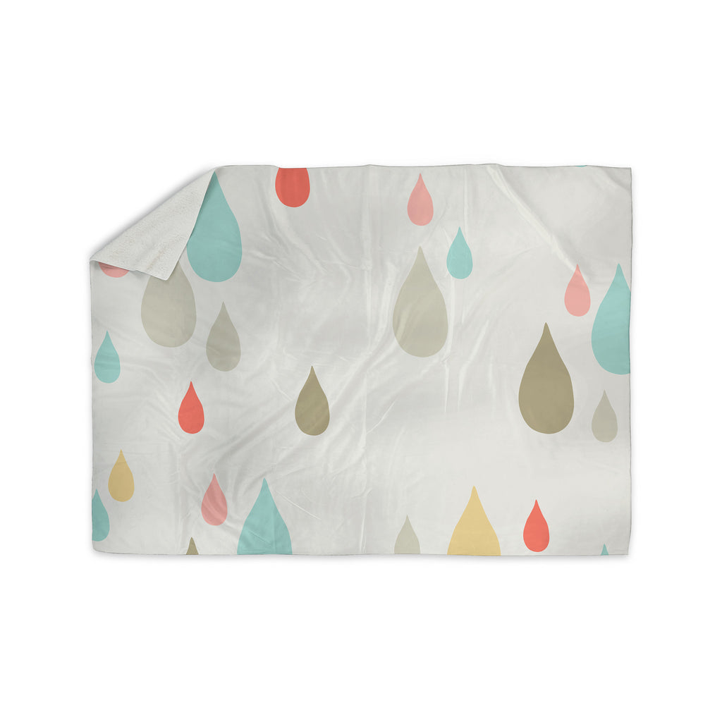 "Very Sarie ""Rainy Days"" Multicolor Rain Sherpa Blanket - KESS InHouse  - 1"