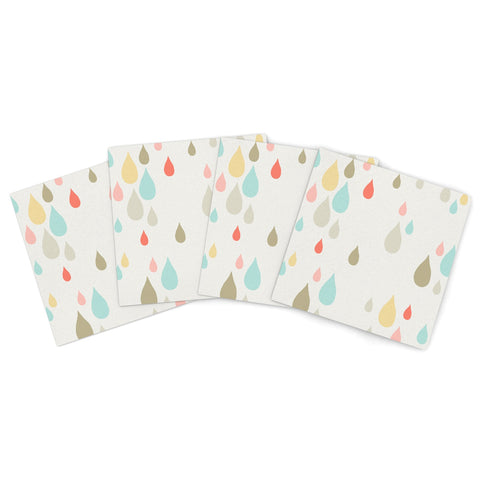"Very Sarie ""Rainy Days"" Multicolor Rain Indoor/Outdoor Place Mat (Set of 4) - Outlet Item - KESS InHouse"