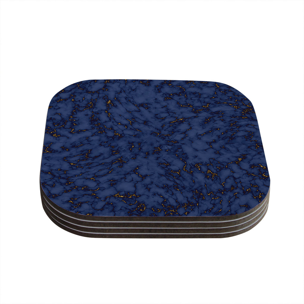 "Will Wild ""Blue & Gold Marble"" Navy Abstract Coasters (Set of 4)"
