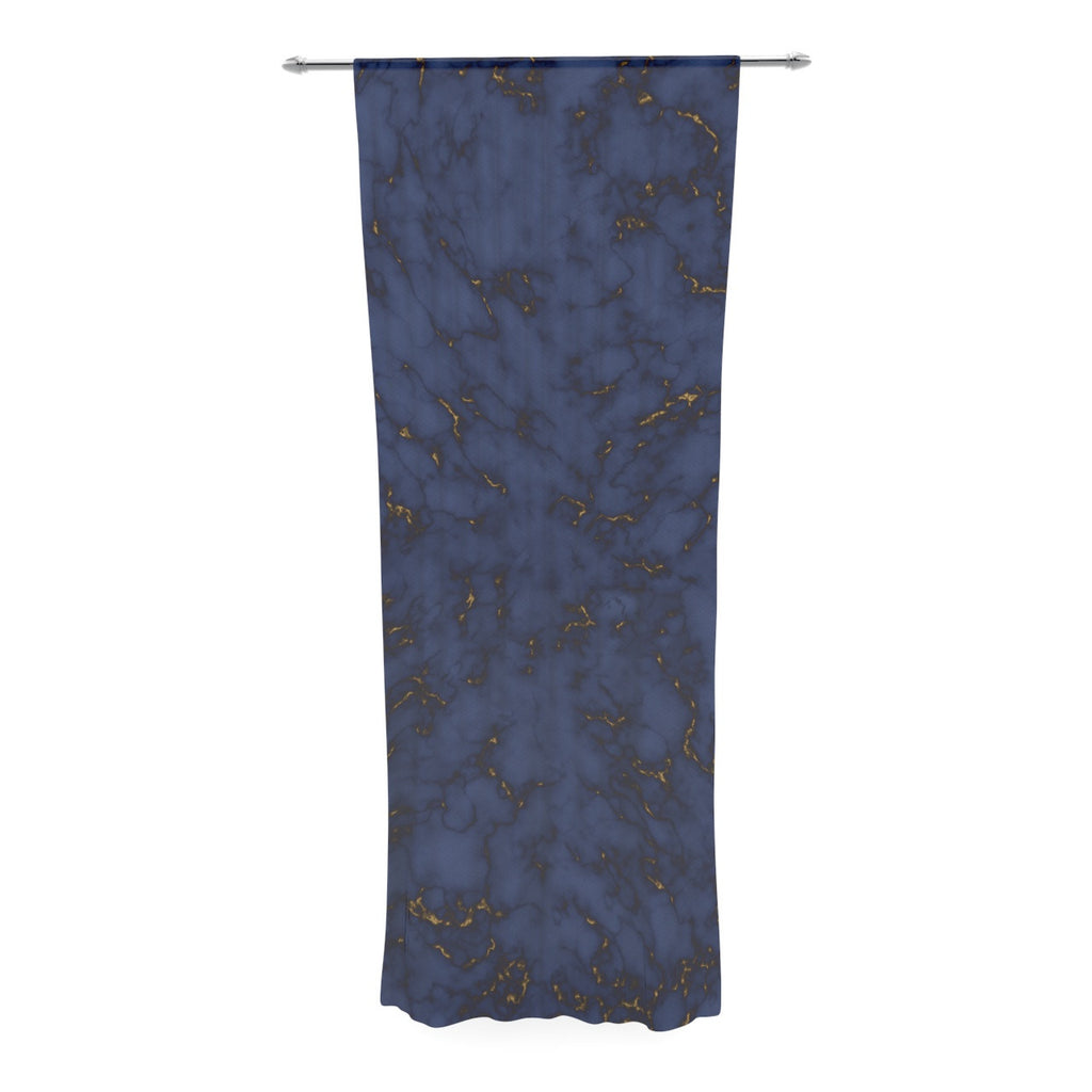 "Will Wild ""Blue & Gold Marble"" Navy Abstract Decorative Sheer Curtain - KESS InHouse  - 1"