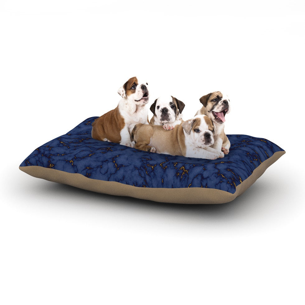 "Will Wild ""Blue & Gold Marble"" Navy Abstract Dog Bed - KESS InHouse  - 1"