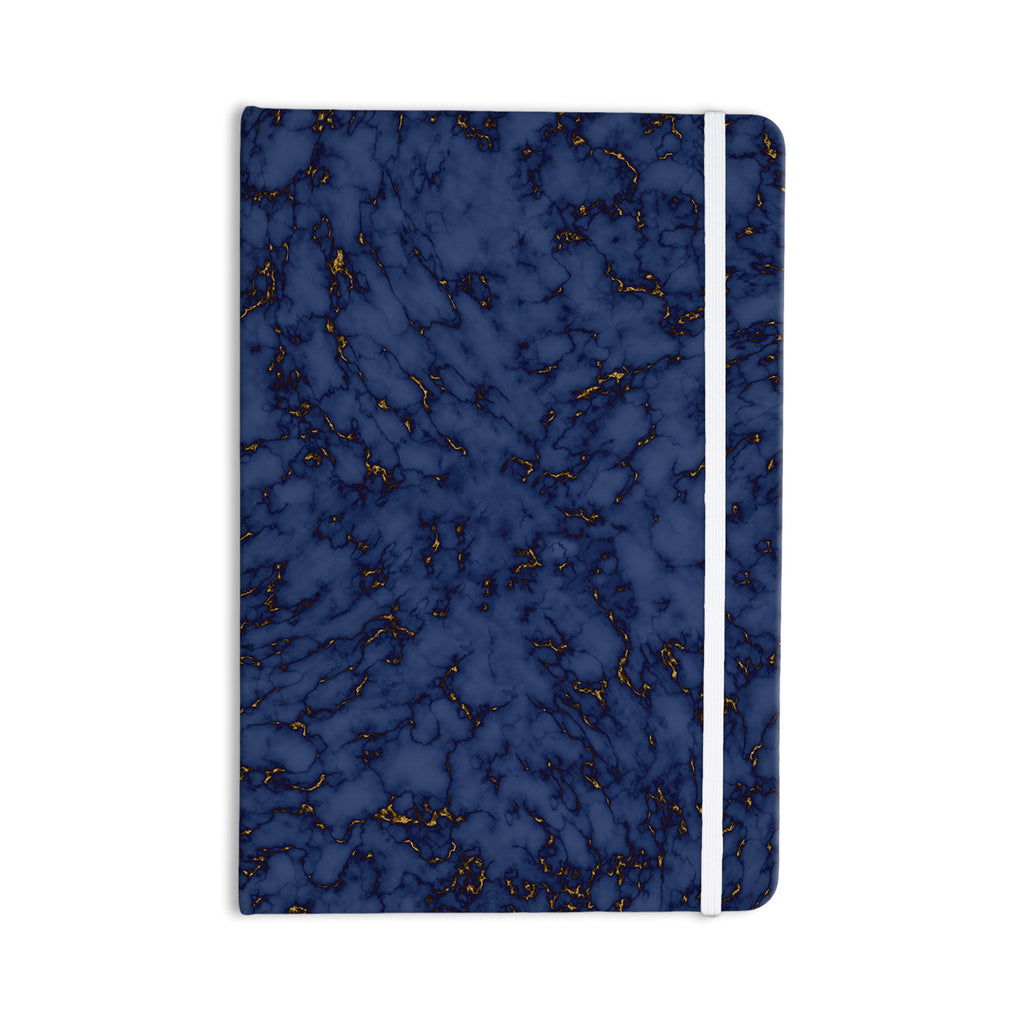 "Will Wild ""Blue & Gold Marble"" Navy Abstract Everything Notebook - KESS InHouse  - 1"