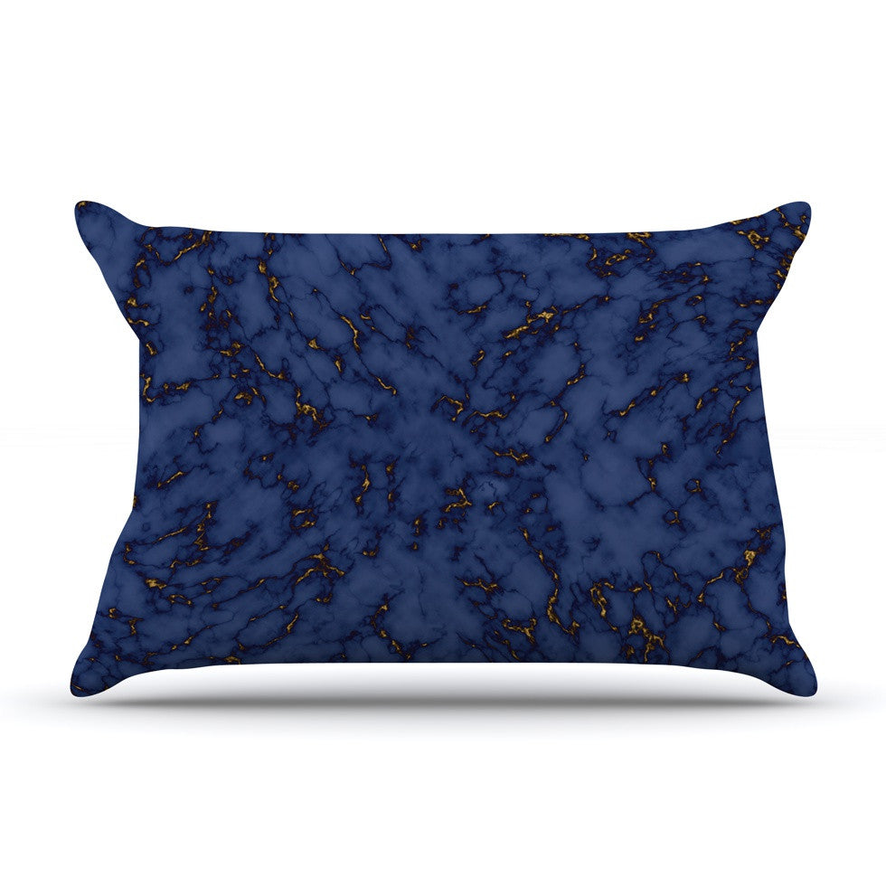 "Will Wild ""Blue & Gold Marble"" Navy Abstract Pillow Sham - KESS InHouse"