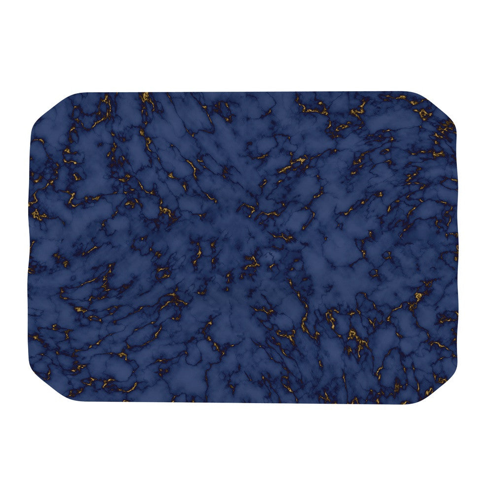 "Will Wild ""Blue & Gold Marble"" Navy Abstract Place Mat - KESS InHouse"