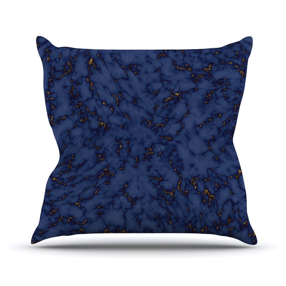 "Will Wild ""Blue & Gold Marble"" Navy Abstract Outdoor Throw Pillow - KESS InHouse  - 1"