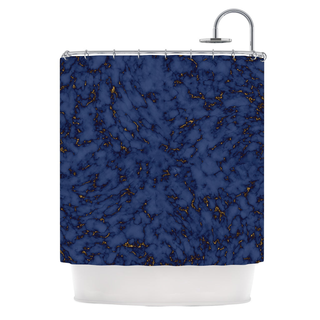 "Will Wild ""Blue & Gold Marble"" Navy Abstract Shower Curtain - KESS InHouse"