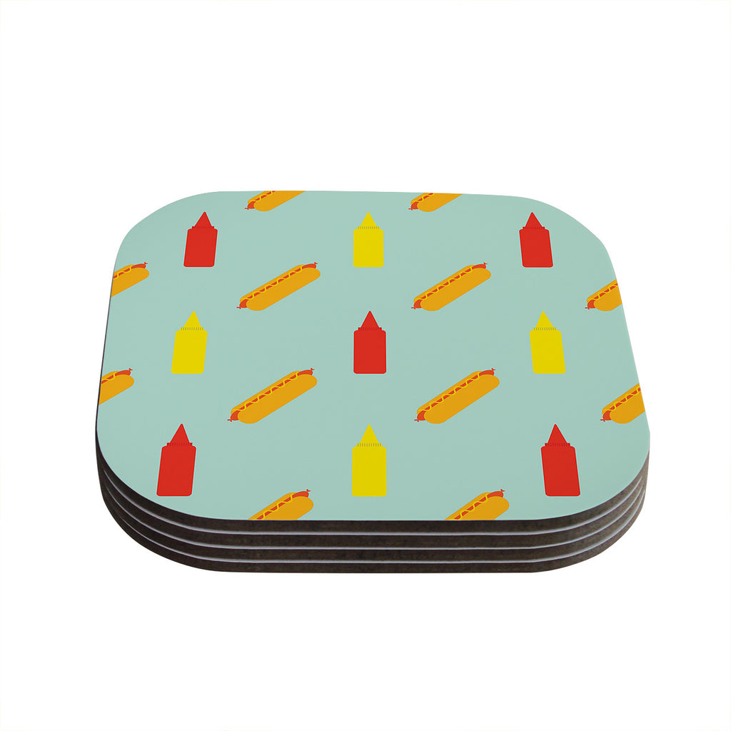 "Will Wild ""Hot Dog Pattern"" Food Coasters (Set of 4)"