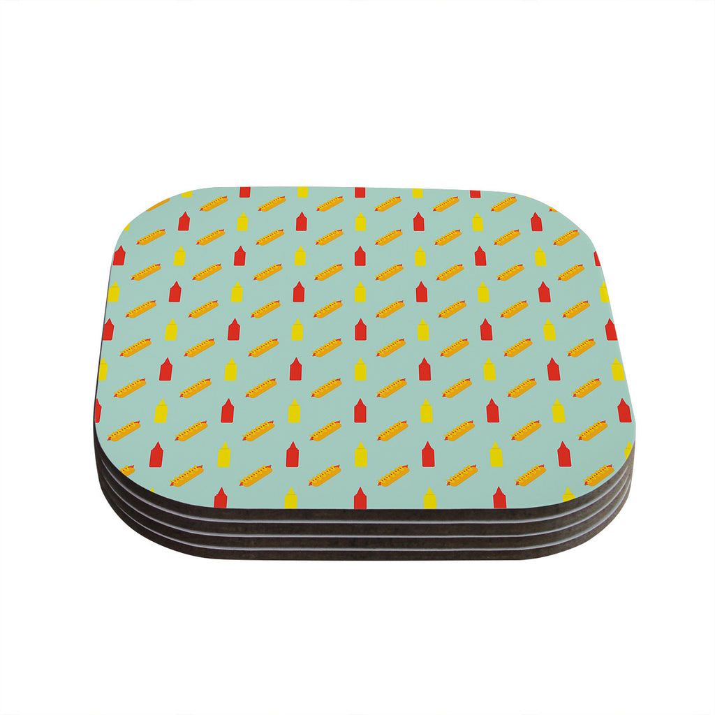"Will Wild ""Hot Dog Pattern II"" Food Coasters (Set of 4)"