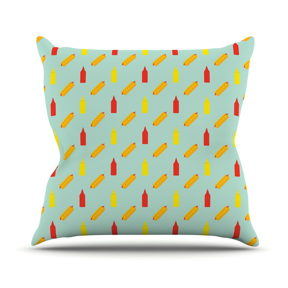 "Will Wild ""Hot Dog Pattern II"" Food Outdoor Throw Pillow - KESS InHouse  - 1"