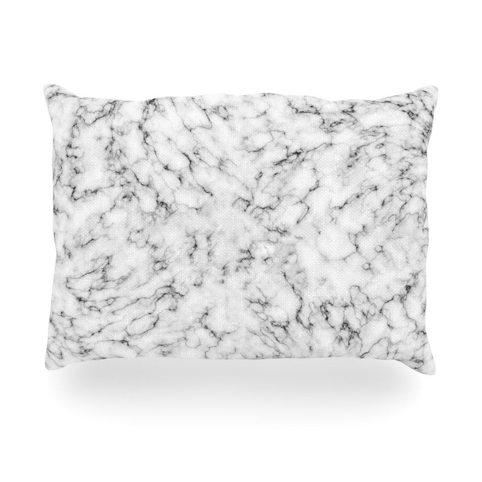 "Will Wild ""Marble"" White Gray Oblong Pillow - KESS InHouse"