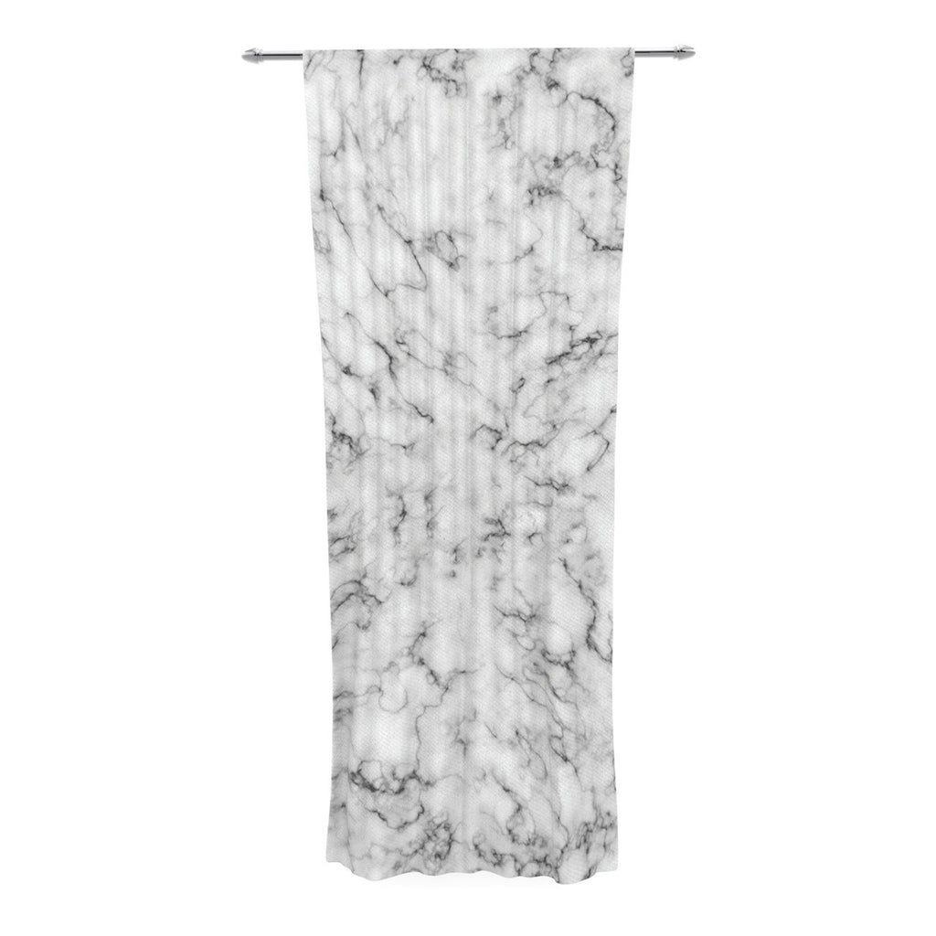 "Will Wild ""Marble"" White Gray Decorative Sheer Curtain - KESS InHouse"