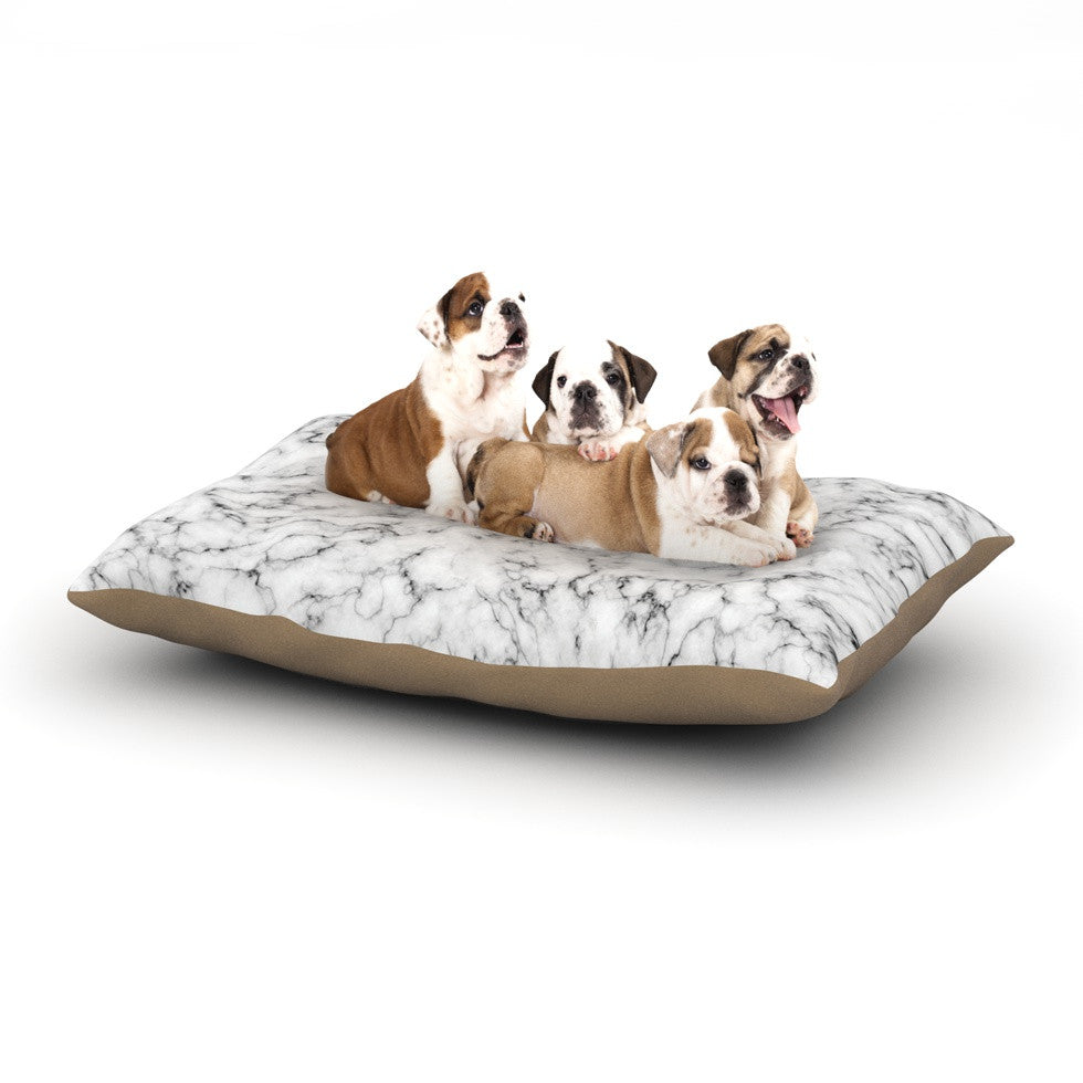 "Will Wild ""Marble"" White Gray Dog Bed - KESS InHouse  - 1"