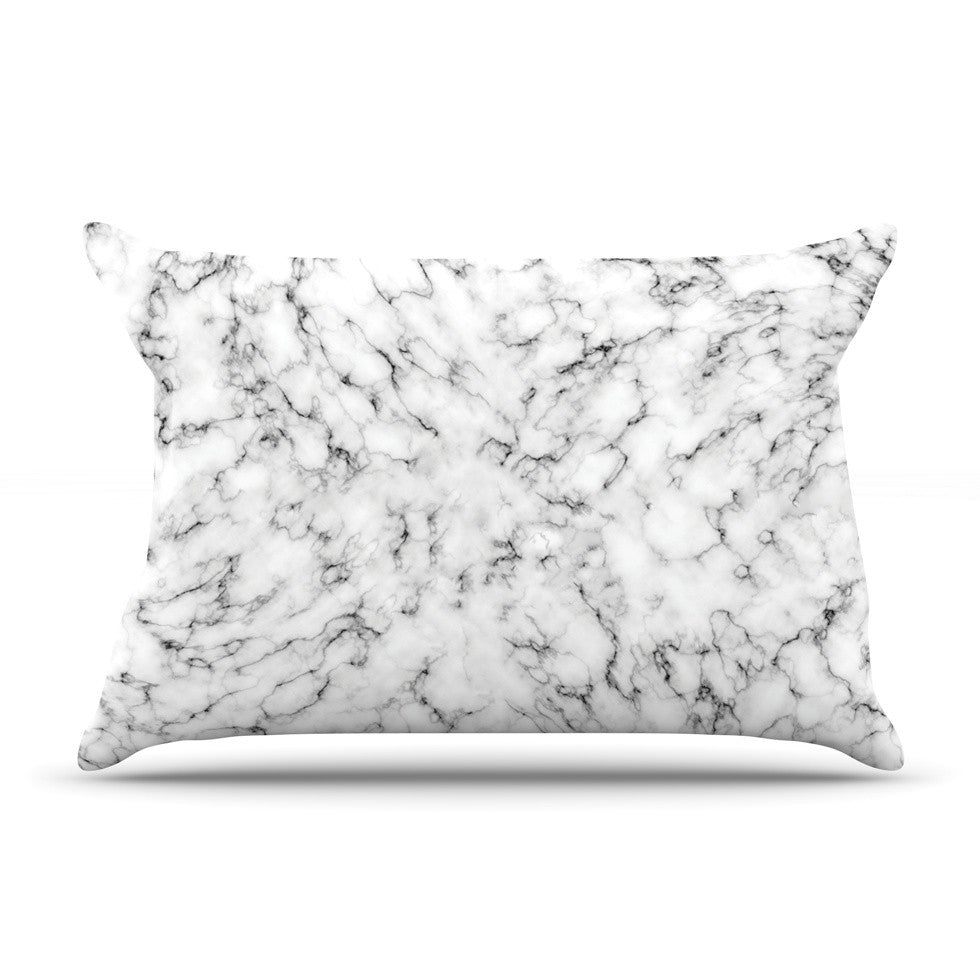 "Will Wild ""Marble"" White Gray Pillow Sham - KESS InHouse"