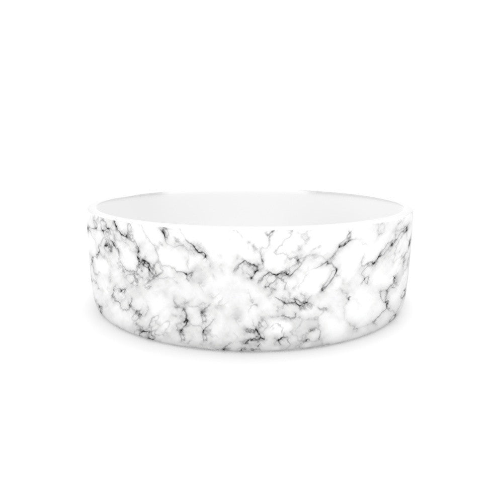 "Will Wild ""Marble"" White Gray Pet Bowl - KESS InHouse"