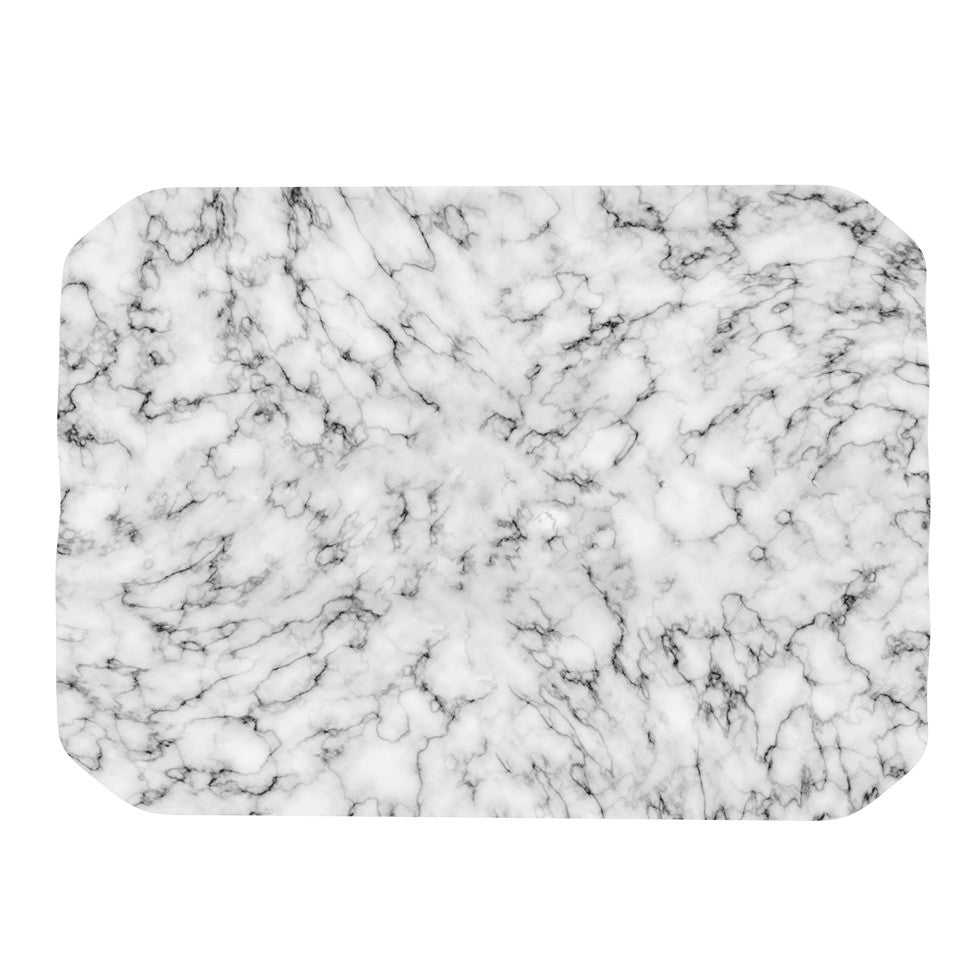 "Will Wild ""Marble"" White Gray Place Mat - KESS InHouse"