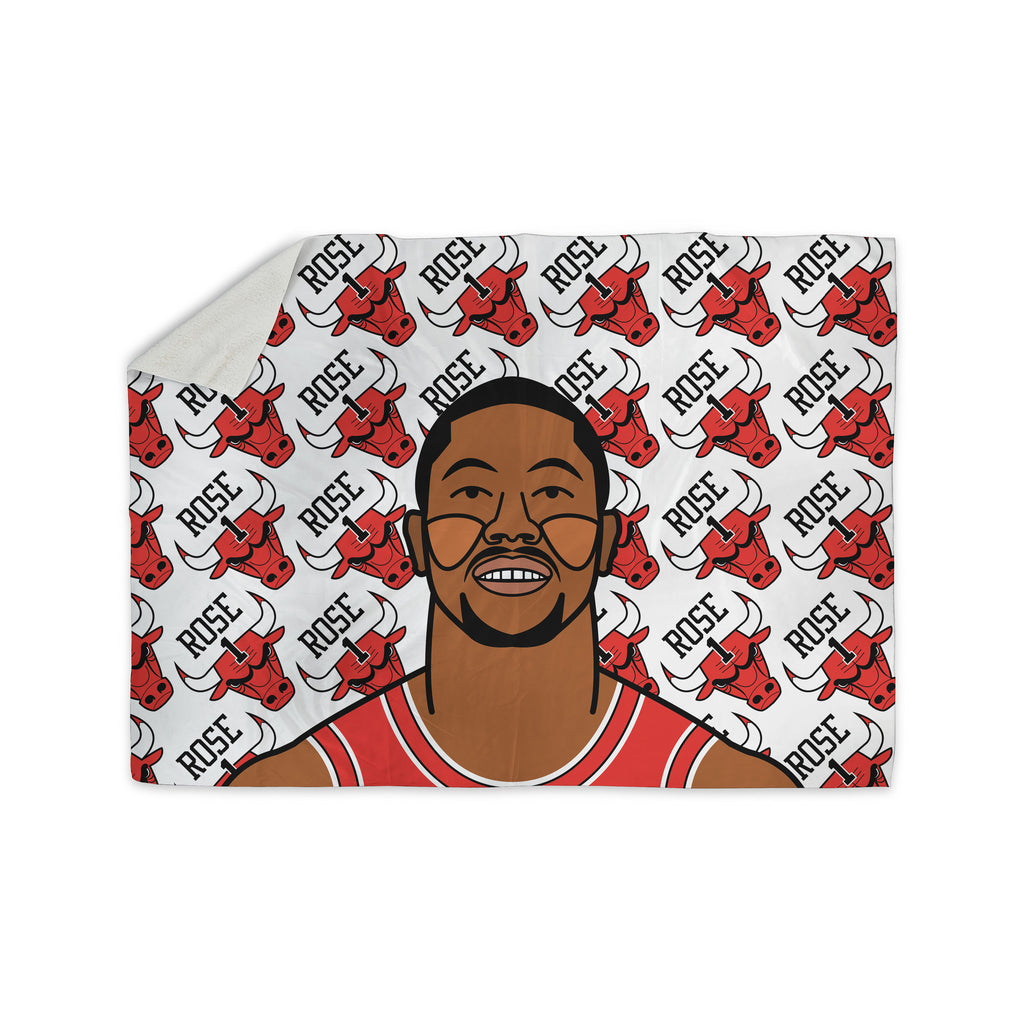 "Will Wild ""Derrick Rose"" Basketball  Sherpa Blanket - KESS InHouse  - 1"