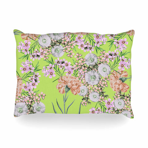"Zala Farah ""Natural Beauty"" Green Floral Digital Oblong Pillow"