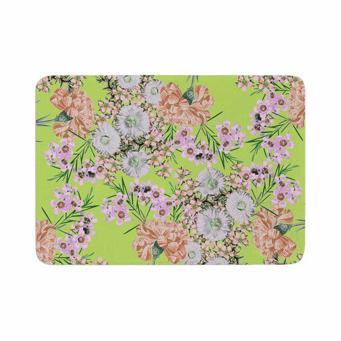 "Zala Farah ""Natural Beauty"" Green Floral Digital Memory Foam Bath Mat"
