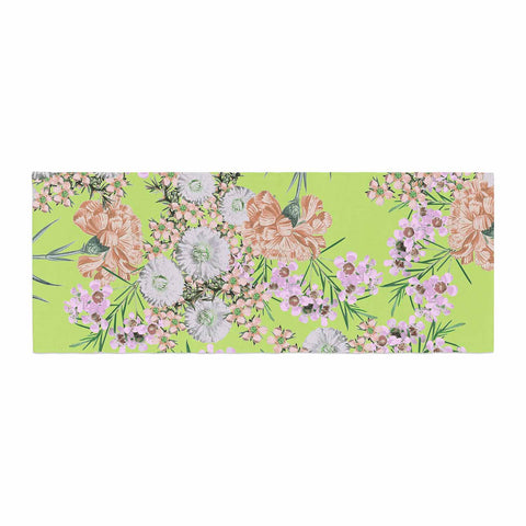 "Zala Farah ""Natural Beauty"" Green Floral Digital Bed Runner"