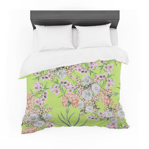 "Zala Farah ""Natural Beauty"" Green Floral Digital Featherweight Duvet Cover"