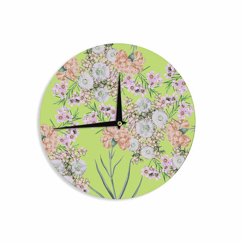 "Zala Farah ""Natural Beauty"" Green Floral Digital Wall Clock"