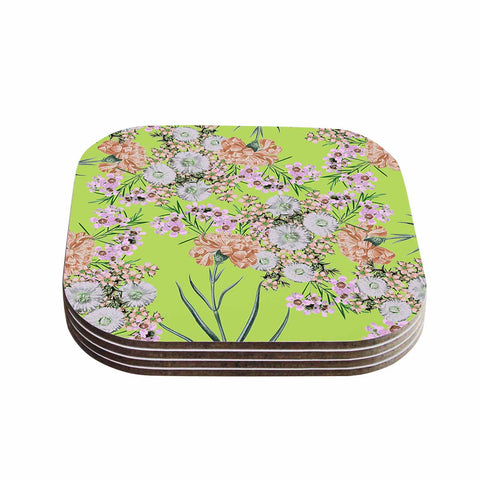 "Zala Farah ""Natural Beauty"" Green Floral Digital Coasters (Set of 4)"