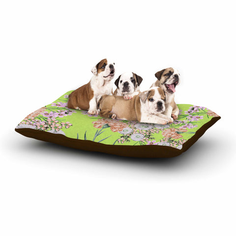 "Zala Farah ""Natural Beauty"" Green Floral Digital Dog Bed"