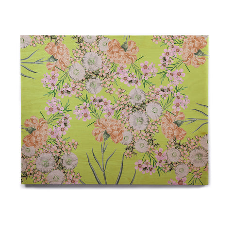 "Zala Farah ""Natural Beauty"" Green Floral Digital Birchwood Wall Art"