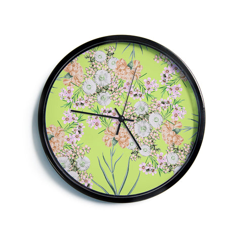 "Zala Farah ""Natural Beauty"" Green Floral Digital Modern Wall Clock"