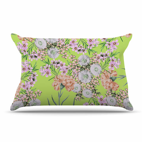 "Zala Farah ""Natural Beauty"" Green Floral Digital Pillow Sham"