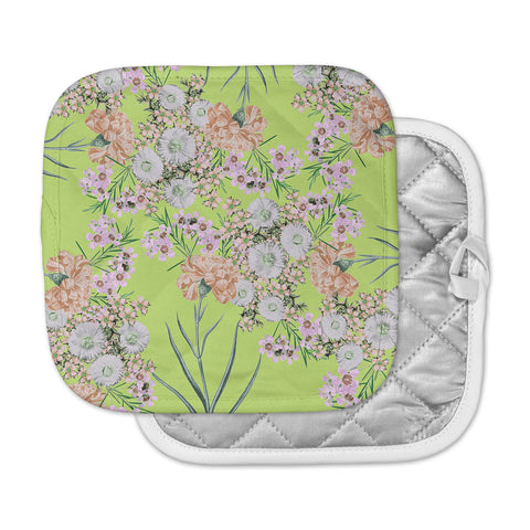 "Zala Farah ""Natural Beauty"" Green Floral Digital Pot Holder"
