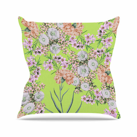 "Zala Farah ""Natural Beauty"" Green Floral Digital Outdoor Throw Pillow"